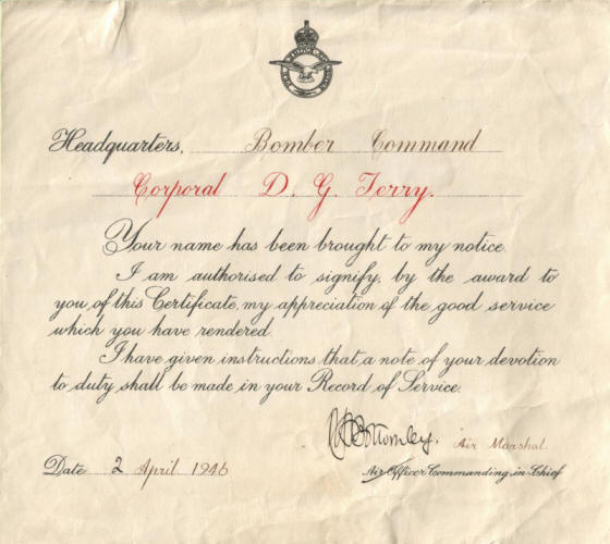 Dennis Terry Commendation